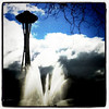 Water fountain compliments the #Seattle Space Needle. #water #landmark #architecture #spaceneedle #tourist