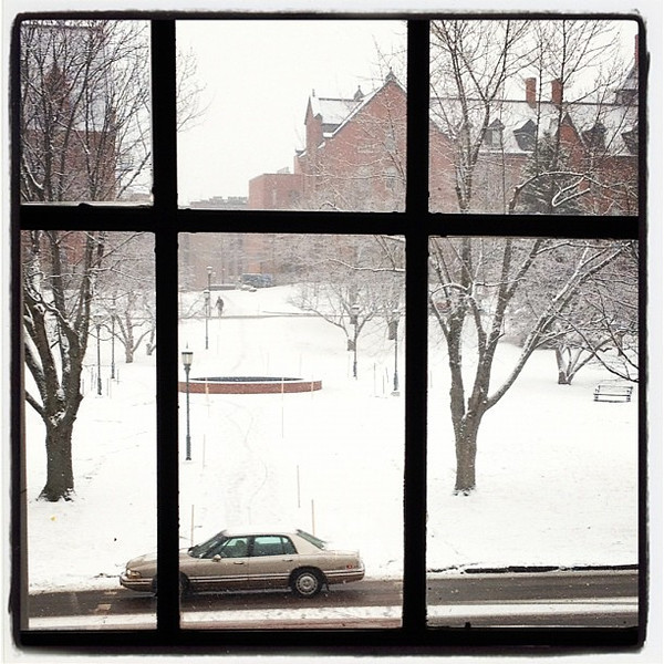 It's snowing out there! #btv #vt