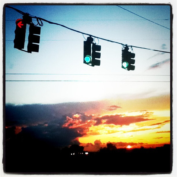 Even traffic lights enjoy a nice #sunset. #VT #scenery