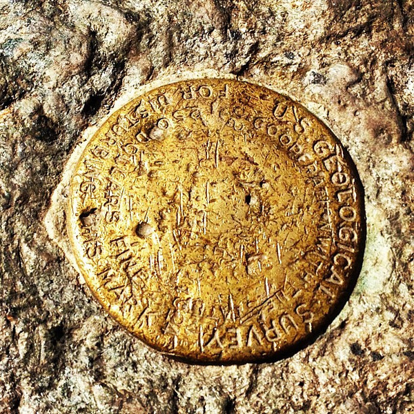 Geological Survey Marker Signifies The Peak at Mt. Mansfield, Vermont.