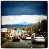 Black clouds empowering the city of #Burlington. Camel's Hump in the background.
