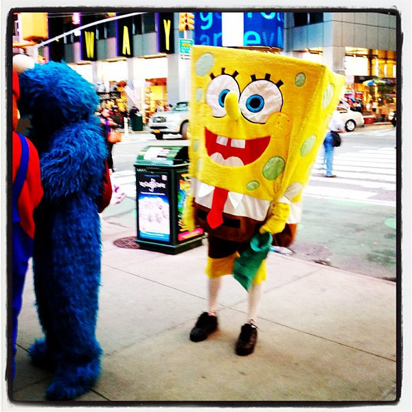 Sponge Bob ready for pictures in #NYC. #cartoon #spongebob