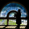 Silhouette of a bagpiper.