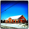 Snow, Red Bricks, Blue Sky #miltonvt #vt