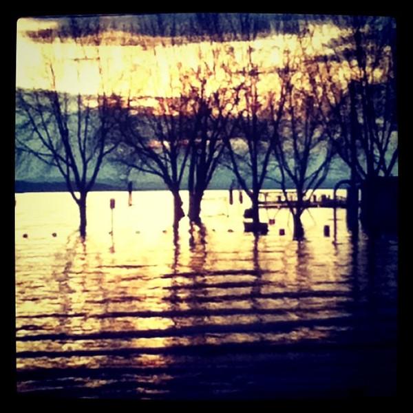Perkins Pier parking lot is now Lake Champlain. #btv #VT #flood #rain #sunset