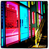 Colored windows at the Palais des Congres in #Montreal.