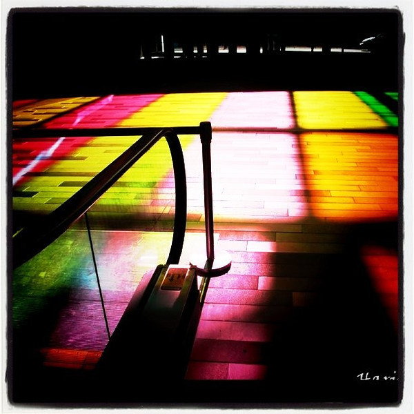 Colored shadows at the Palais Des Congres in #Montreal. #Quebec #Canada #colors #silhouette #shadows #awesome