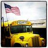 Hotdogs & hamburgers at Beansies! #btv #VT #food #bus #American #flag #police
