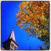 Foliage over steeple! #btv #vt #foliage #UVM