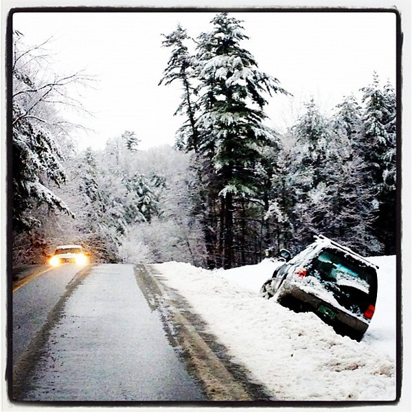 Not Going anywhere! Scene during a recent snow storm. #btv #vt