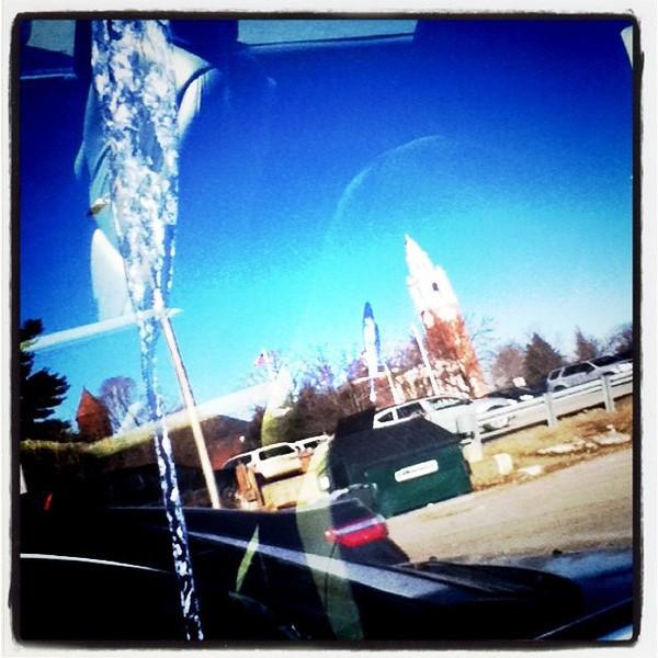 Reflection off a minivan #window. That big smudge is #bird #poop! #reflection #nasty #btv #VT
