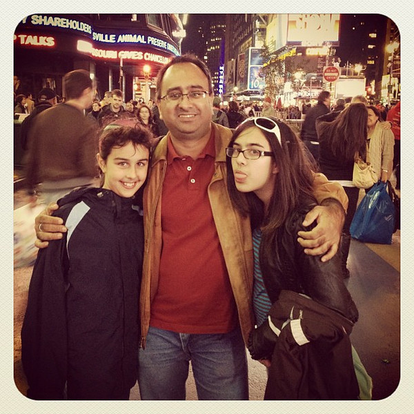 Proud Dad with his gorgeous girls in Times Square. #nyc