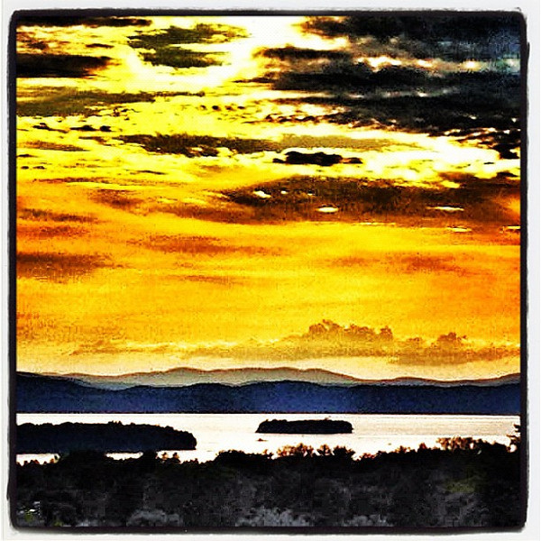 Lake, Mountains, Islands, Clouds, complimented by a breathtaking sunset. #btv #vt