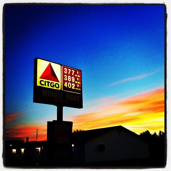 High Gas Prices But Let's Enjoy The Sunset. #miltonvt #vt