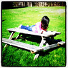 Beautiful day to read outdoors. #Milton #summer #kid