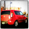 Saw this cute little car on my way to work. Took a quick look at the driver and I realized I know him! Small world. #btv #vt #red #car #friend