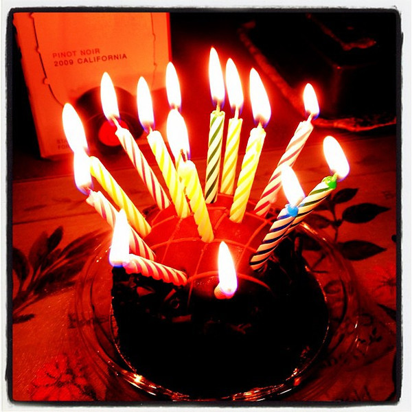 14 candles on a mini cake! #birthday