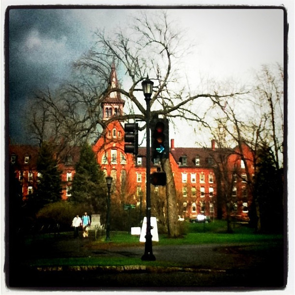 Darkening clouds over #UVM. #btv #VT #weather #architecture