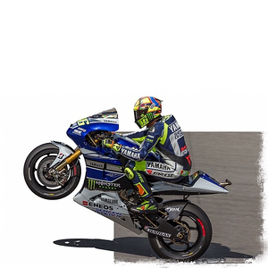 Valentino Rossi pulling a stand. Original photo by Alan Turnbull. #Rossi #uponone #motogp #yamaha #motorcycle #wheelie #cutout #vr46 #valentinorossi