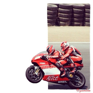 Randy Mamola on the two-seat #motogp #ducati to benefit riders.org at #lagunaseca #usgp . #motorcycle #cutout