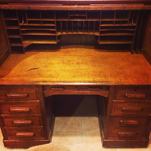 A little elbow grease, and we managed to restore grandpa's/dad's desk.