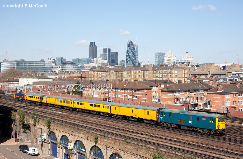 In beautiful spring sunshine 73206 leads 73208 'Kirsten' towards London Bridge with the 1Q03 09.18 Hither Green-Selhurst via Rochester Network Rail measurement train. 8.4.10