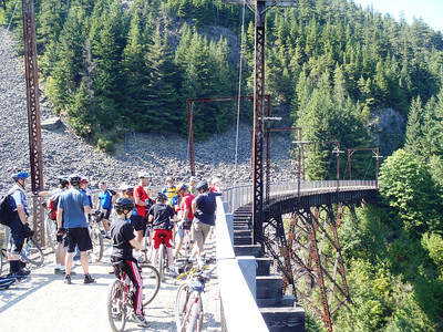 Unicycling rabble blocking the trail on one of the high trestles.