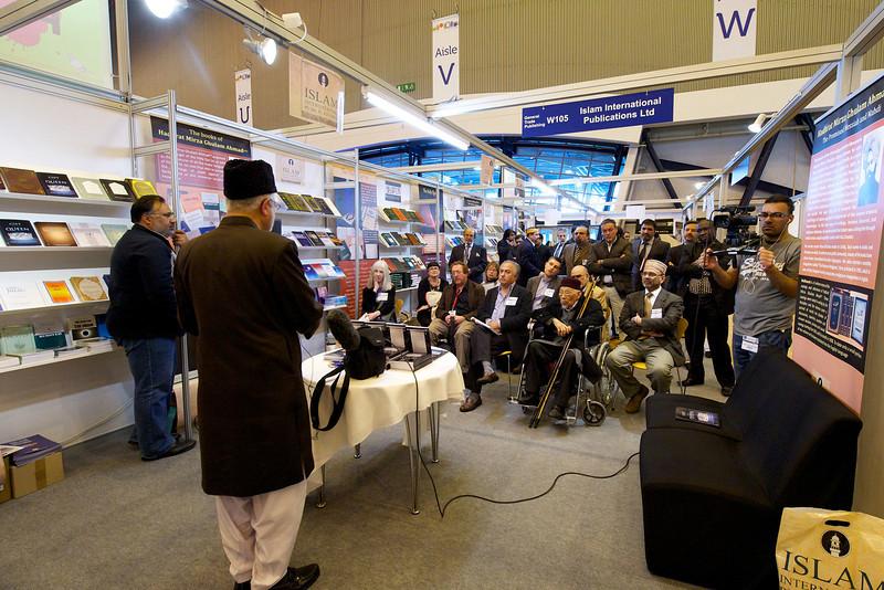 The Imam of the London Fazl Mosque, Ataul Mujeeb Rashid Sahib, officially launches the  book Toofah Qaairiyyah - A Gift to the Queen at the London Book Fair.