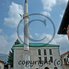 a recently rebuilt mosque in a village in bosnia severely damaged by Serb forces, following the war in bosnia
