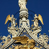 St marc standing on the summit of the west face of the basilica of St Marc in Venice above the winged lion of venice
