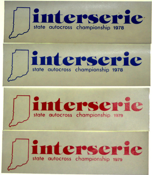 A solo series was conducted for 1978 and 1979 that was a cooperative effort of five Indiana sports car clubs, where each club hosted one series event, and there were awards presented at the end of the year for the series.  These are the actual stickers that were required to be on the cars.  The series was sponsored by Valvoline.