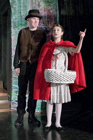 Mark Maynard   for The Herald Bulletin<br /> Red Riding Hood (Lilly Thomas) encounters the Wolf (Charlie Dubree) in the woods on her way to Granny's house.