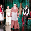 "Mark Maynard | for The Herald Bulletin<br /> The Cow, the Baker, the Baker's Wife, the Steward and Cinderella's Prince look on as Jack's Mother (Josi Fisher) laments that her son has been crushed to death by the Giant in ""Into the Woods Jr."""