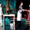 "Mark Maynard | for The Herald Bulletin<br /> The Baker's Wife (Teddi Bishop) and the Baker (Tyler McCorkle) give a loaf of bread to Red Riding Hood (Lilly Thomas) for her Granny in Alexandria Commons Theatre's production of ""Into the Woods Jr."""
