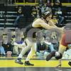 #1 Iowa 28 vs #15 Iowa State 8<br /> 174 — Mike Evans (I) dec. Tanner Weatherman, 7-4