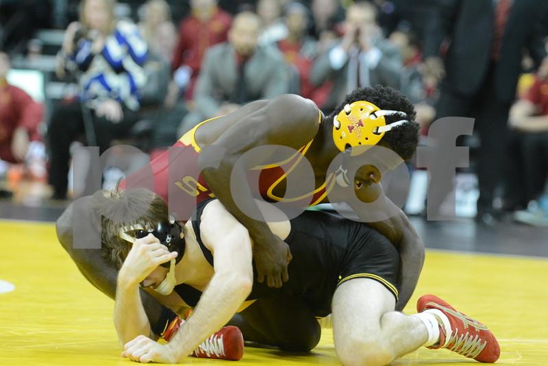 #1 Iowa 28 vs #15 Iowa State 8<br /> 133 — Cory Clark (I) dec. Earl Hall, 8-3