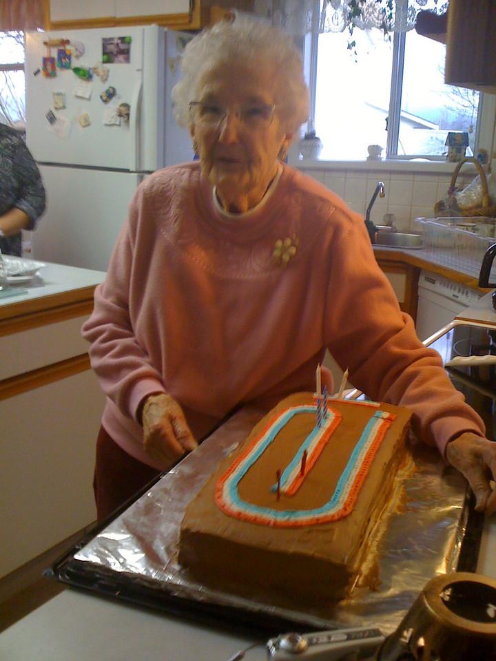 Grandma with her crib cake at her 95th birthday.