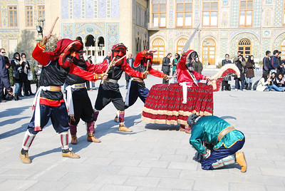 A dance troupe from Mashad in Northern Iran, performing in the grounds of Golestan Palace in Tehran.