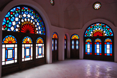 Leadlight windows in the main family room at Khan-e Tabatabei, Kashan, Iran