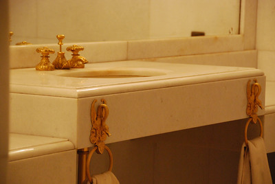 Gold plated towel holders and taps in Sahebqaranieh (the King's office).