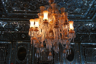 One of the ornate chandaliers at Shams al Emarat.