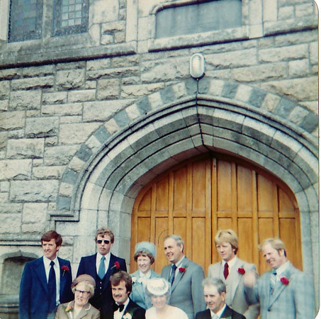 Outside the church at Elizabeth's wedding