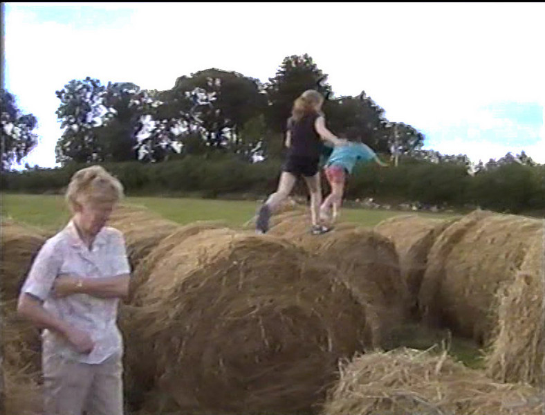 Anne & Lorraine over the bales