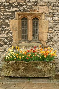 Window with Stone Flower Box Hadon Hall, Derbyshire,UK
