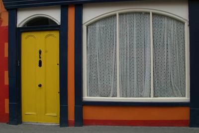 Yellow Door with Lace Window Kinsale, Ireland