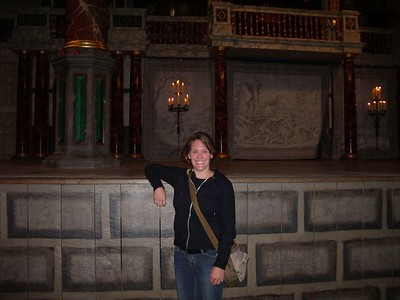 "After all my hard work at the Backdoor Playhouse in college, I finally was able to ""tread the boards"" of the Globe Theatre....ok, not exactly, but I did get to touch the stage!"