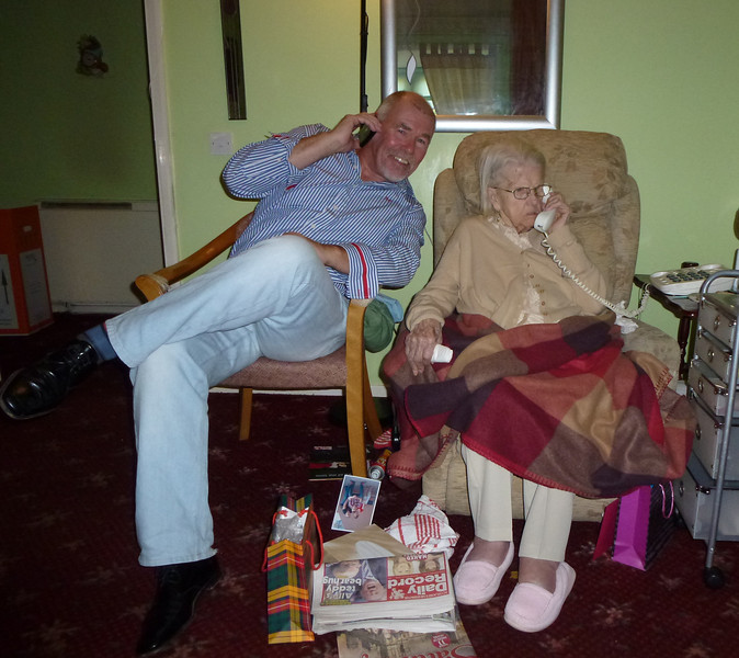 Dueling phones with Granny Davis on her 96th birthday in Glasgow