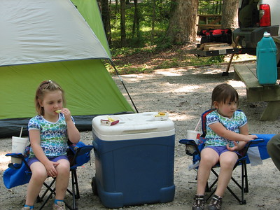 Isabella and Sofia's first campout