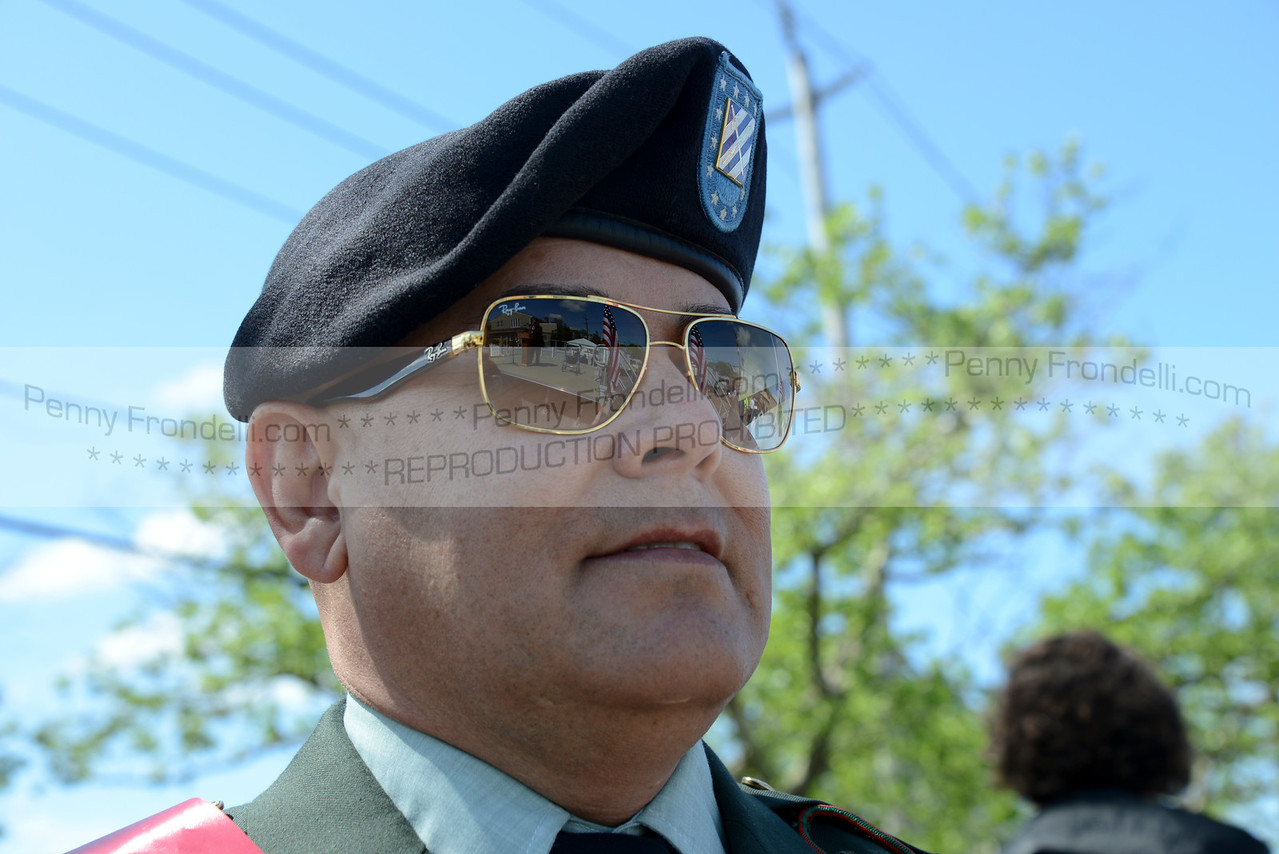Portrait of Fredy Mendoza - Grand Marshall at the Island Park Memorial Day Parade <br /> Mendoza serverd in the Army 2006-2009 in Iraq, He became a US citizen during deployment