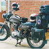 Our faithful mount for the next 6 weeks, a 14 hp 350 cc Condor. It carried two of us with all this gear for 6 weeks. It never missed a beat, only got two flat tyres. I cant believe now that we rode it on the M1 back to London I dont think I would try that again, 80 kmph was about it.